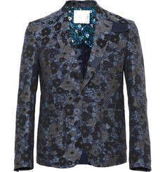 Sacai - Cotton and Linen-Blend Jacquard Blazer|MR PORTER
