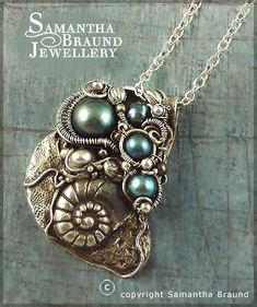 by Samantha Braund - Sea Themed Turquoise Pearl Barnacle Cluster Necklace made with metal clays