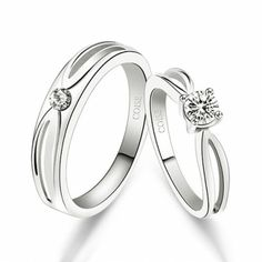 Fashion New Cubic Zirconia 925 Sterling Silver Plated White Gold Lover's Rings