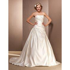 Ball Gown Strapless Chapel Train Satin Wedding Dress – USD $ 199.49