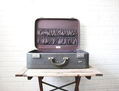 Vintage Blue Gray Skyway Suitcase - Purple Interior Hard Sided Luggage - Mad Men - Hard Side Lavender Dove Gray - Display Prop - Mid Century...