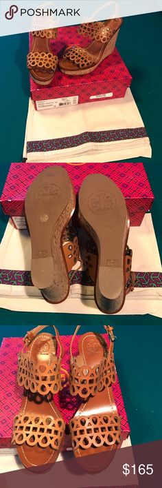 5da365f9af3430 Tory Burch Nori Laser Cut Cork Wedge Sandal 10 Tory Burch Nori wedge sandal.  Laser