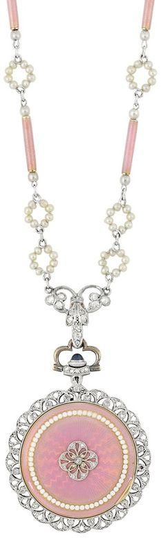 Enamel, seed pearl, and diamond pendant-watch. Belle Epoque, circa 1910.
