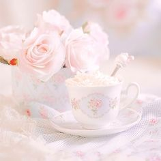 Most popular tags for this image include: cup, flowers, pastel, rose and shabby chic