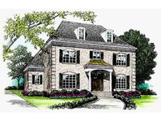 Eplans House Plan: This French manor takes you back in history with its tall exterior featuring  dormers, muntin windows, corner quoins and a stately portico entrance. The  foyer leads to either the study on the right--which