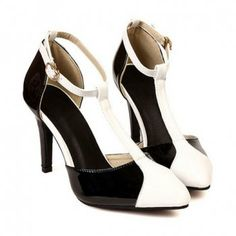New Arrival Color Matching T-Strap and Pointed Toe Design Pumps For Women, WHITE, 37 in Pumps | DressLily.com