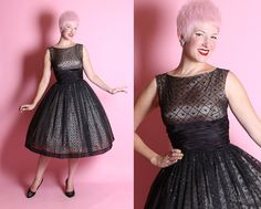 * PLEASE ENLARGE PICTURES *  Perfect mid-century party attire! Its a fabulous glittering 1950s New Look sheer inky black chiffon over nude satin