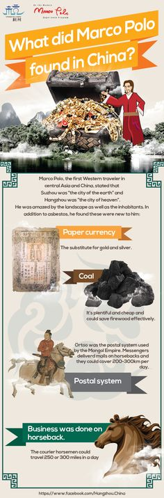 What kind of treasures did Marco Polo find? Check out the infographics here! Repin now :) #hangzhou #china #history #marco polo #asia #explore #travel #culture #infographics #adventure