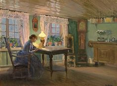 Christian Eriksen SKREDSVIG. The blue living room at Fleskum.Christian Skredsvig (1854–1924) was a Norwegian painter and writer. He is especially well known for his picturesque paintings