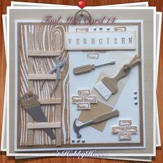 Tool Man Card 14. Or just a card for Housewarming or New Home Card. Mister or Misses-Fix-it. :-) DIY 't HobbyHoees 23 april 2016