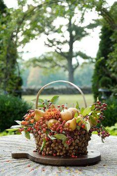 beautiful fall basket arrangement easy to do. Hot glue acorns on a inexpensive basket Autumn Decorating, Fall Decor, Holiday Decor, Deco Floral, Arte Floral, Decoration Plante, Fall Table, Autumn Home, Autumn Garden