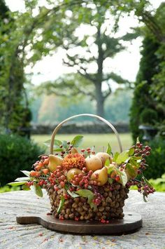 Fall fruit basket would make a lovely table center piece