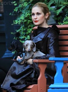 EXCLUSIVE: Kelly Rutherford walks her two dachshunds in Tribeca, NYC