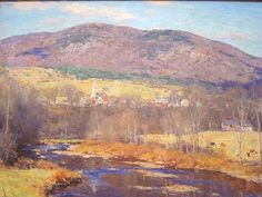 """The North Country    Painted by Willard Metcalf (1858-1925) in 1923. After 1900 Metcalf devoted himself to painting the mountains and woodlands of Connecticut, New Hampshire and Vermont. """"The North Country"""" portrays the village of Perkinsville, Vermont, nestled in the sloping countryside below Hawks Mountain with the Black River flowing through the pasture in the foreground."""