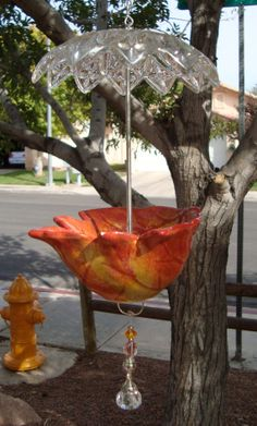 Teacup Bird Feeder. Made of a leaf shaped dish and by lezaharary, $24.00