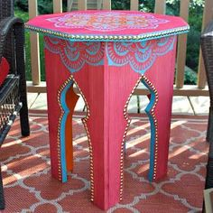 Use Dritz nailhead trim to make this fantastic Moroccan table. Great DIY project to create unique looks!
