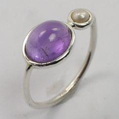 925 Sterling Silver Genuine AMETHYST & PEARL Gemstone Delicate Ring Size US 6.75 #SunriseJewellers #Fashion