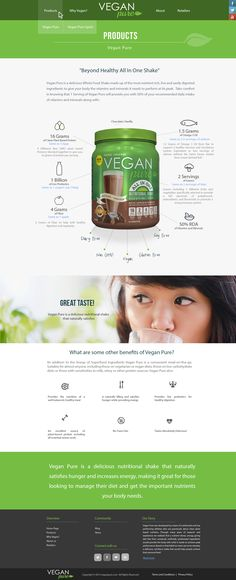 Web design. Clean. Fresh. Light green and grey. Company: Vegan Pure