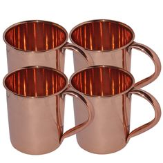 Amazon.com | DakshCraft ® Pure Copper Moscow Mule Mug Lacquered Finish, Set of 4: Beer Mugs & Steins