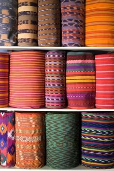 Bright and beautiful textile rolls