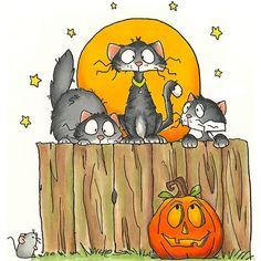 Halloween - meow kitties on stump) - cartoon. Retro Halloween, Halloween Chat Noir, Halloween Rocks, Halloween Clipart, Halloween Cat, Holidays Halloween, Happy Halloween, Halloween Decorations, Halloween Painting