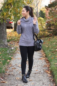ATHENA ALEX - Outfit Post: MARLED - Grey Marled Cowl Neck Cable Knit Sweater, Black Jeans, Black Booties, Black Bag, Black Ray-Ban Aviators, Rose Gold Michael Kors Watch - Full post and outfit details on www.AthenaAlex.com! xo