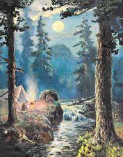 Full Moon Camp Fire Mountain Stream, maybe Wm Thompson or Fox