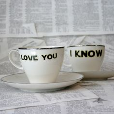 Lorelei I love you I know altered vintage teacup by geekdetails, $55.00