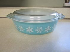 Items similar to Vintage Pyrex Oval Casserole Dish with Lid Divided White Milk Glass Blue Snowflake Winter Pattern on Etsy