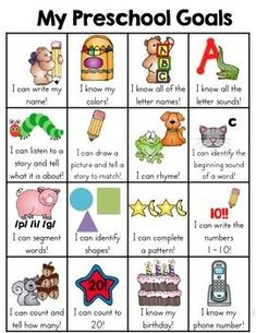Pre-Kindergarten Goals Sheet This preschool skill goal sheet is a one page sheet of typical skills that a preschooler may learn. It is a fun and very visual way for the kids to see what skills they have mastered and document the child's learning. Preschool Assessment, Preschool Prep, Preschool At Home, Preschool Learning Activities, Preschool Lessons, Preschool Classroom, Preschool Schedule, Activities For 4 Year Olds, Pre K Activities