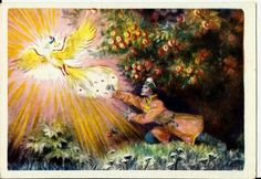 Tale of Prince Ivan, Firebird, Vintage  Russian Postcard,Fire Gold Bird 1957 by LucyMarket on Etsy