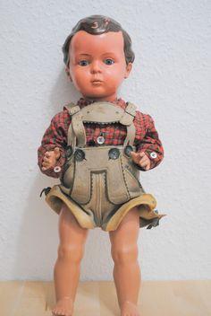 alter Schildkröt Bub Hans?? Puppe H 40 cm gut erhalten,org.Lederhose bayerisch…