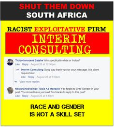 Racist recruitment negatively impacts on South African society. Whites do not want racist adverts that vilify black competency. Down South, Your Message, African, Messages, Black, Black People, Text Posts, Text Conversations