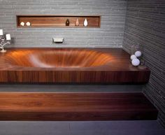 Classic Wooden Bathtub Design with Marble Tile