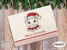 "Cat Christmas Greeting Cards Download, Blank Card, Cat Christmas Card Printable , Holiday Card, Folded 5""x7"" card, Cat Holly Greeting Card, Coloring Greeting cards"