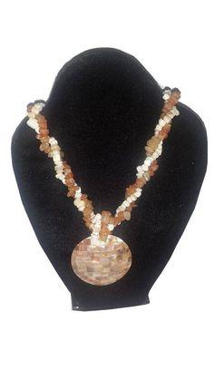 White Brown Gemstones Necklace