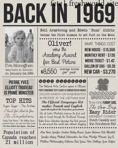 Back in 1969 Sign, Personalised 1969 Newspaper Poster with Photo, Last Minute Birthday Gift, DIGITAL FILE, 50 Years Ago History Back in 1969 Print Personalised 1969 Newspaper Poster with 50th Party, 50th Birthday Gifts, 50th Birthday Ideas For Women, Wife Birthday, Birthday Sayings, Birthday Board, Birthday Images, Happy Birthday, Fiftieth Birthday