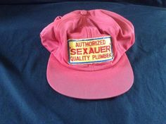 Pervert Vtg Trucker Hat Cap Authorized Sexauer Quality Plumber Union Made #CAP #Trucker