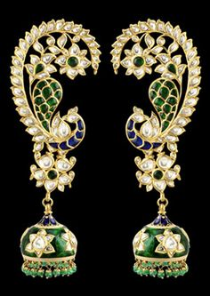 Earrings by Sunita Shekhawat Jaipur. Shine brilliantly in these diamond earrings featuring diamonds in an adorably beautiful jhumka design in pure gold. India Jewelry, Ear Jewelry, Gold Jewelry, Jewelry Accessories, Jewelry Design, Jewelry Stand, Indian Wedding Jewelry, Bridal Jewelry, Heavy Earrings