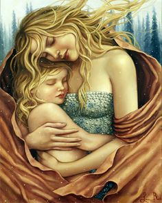Lauri Blank (1970, American), painting of a mother holding a child or of an angel