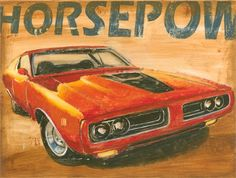Baby boys room idea ..Vintage Muscle I Canvas Reproduction