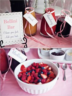 cute signage for a mimosa/bellini bar  ** This whole post has cute bridal shower ideas