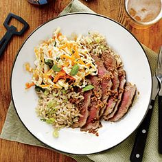 Ginger Steak and Sesame Brown Rice | Cooking Light #myplate #protein #wholegrain