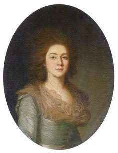 Варвара Ивановна Голицына (176. - 1804), ур. Шипова, в первом браке княгиня Волконская. Жена Ф.Н.Голицына (1851-1827). 1790-е г. Неизвестный художник круга Вуаля