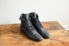 Vintage Blue Leather Ankle Boots with Cuff by Preview, womens 7 1/2