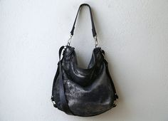 sale  HOBO PACK  in Pewter Black Shimmer by roughandtumblebags, $198.00