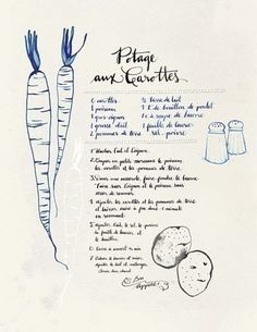 Potage aux Carottes. Collection -Art culinaire- by evajuliet via etsy. her website- evajuliet.com