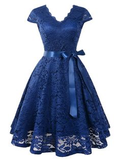 Sum All Chic, Shop Navy Blue Lace Sashes Draped Cut O. Sum All Chic, Shop Navy Blue Lace Sashes Draped Cut Out Pleated V-neck Short Sleeve Elegant Midi Dress online. Elegant Midi Dresses, Lace Party Dresses, Pretty Dresses, Sexy Dresses, Beautiful Dresses, Evening Dresses, Short Dresses, Skater Dresses, Ladies Dresses