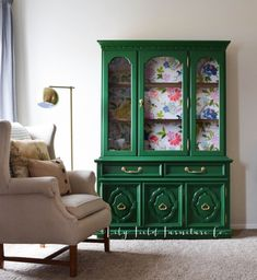 Green furniture painted china cabinet with gold handles. Inspiration for green home decor with Country Chic Paint - eco-friendly and VOC free furniture paint. Leather Living Room Furniture, Green Furniture, Trendy Furniture, Furniture Decor, Rustic Furniture, Antique Furniture, Tiffany Blue Furniture, Outdoor Furniture, Furniture Design
