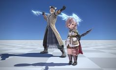 Final Fantasy XIV: A Realm Reborn with Lightning/Snow outfits for various races